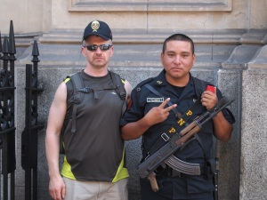 Go ahead, ask a man with a loaded machine gun to take a picture with you.